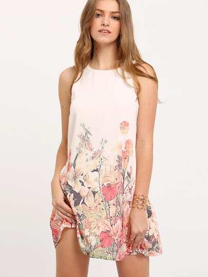 robe motif fleuri sans manche -multicolore