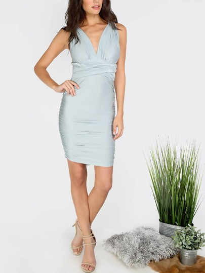 Lake Green Criss Cross Ruffle Infinity Dress