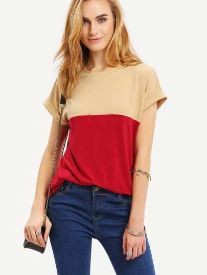 Multicolor Cap Sleeve Patchwork T-shirt