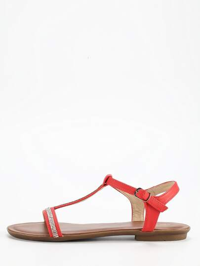 Red T Strap Flat Sandals