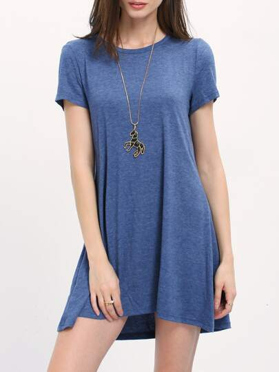 Blue Short Sleeve Cut Out Back Shift Dress