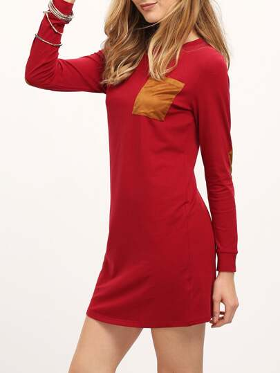 Burgundy Long Sleeve Elbow Patch Dress