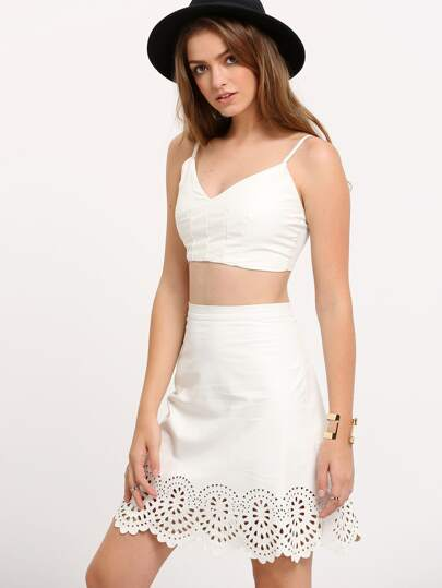 White Hollow Scallop A Line Skirt