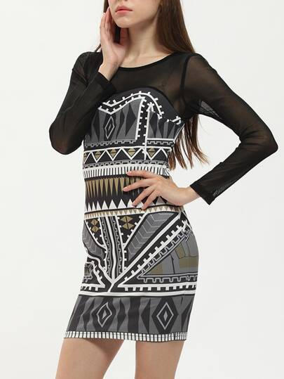 Black Tribal Print Mesh Bodycon Dress