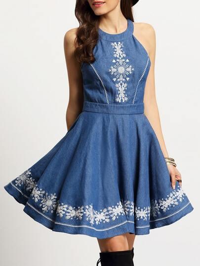 Denim Blue Halter Neck Embroidered Pleated Dress