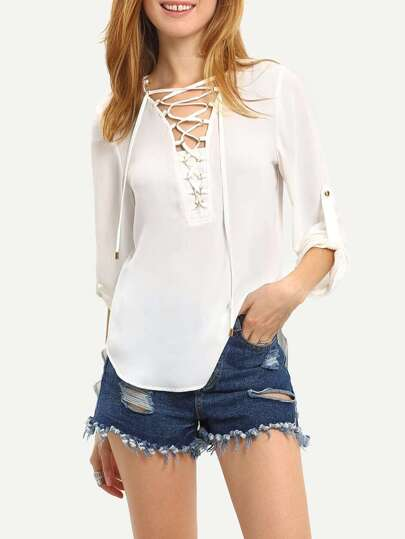 White Long Sleeve Grommet Lace-up Blouse