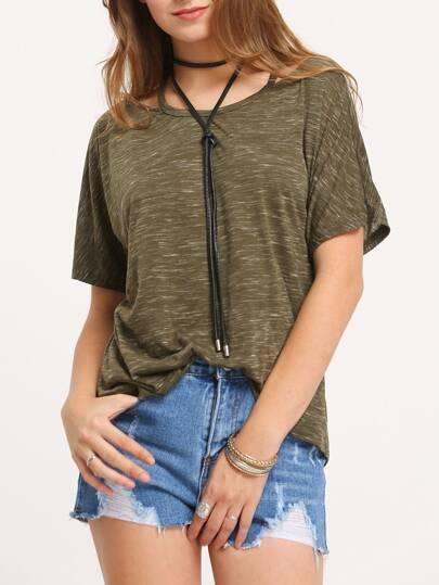 T-shirt manche courte avec bretelle -vert kaki