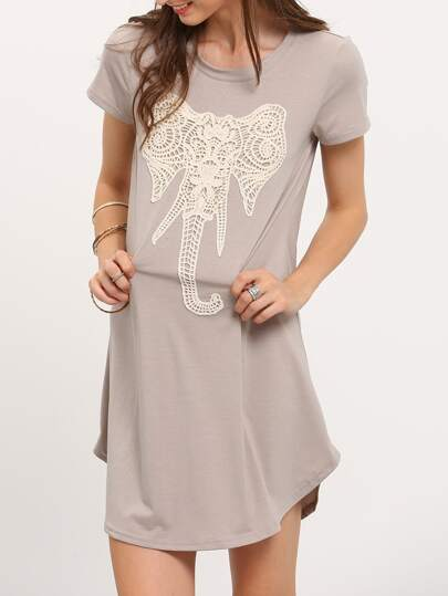 Light Grey Elephant Embroidery Dolphin Hem Shift Dress