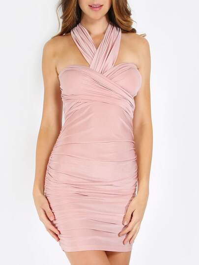 Pink Pleated Tie-Waist Convertible Bodycon Dress
