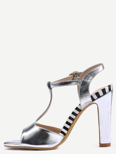 Silver T-Strap Slingback High Heel Sandals
