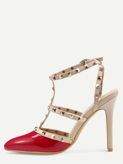 Red Studded T-Strap Pointed Toe High Heel Sandals
