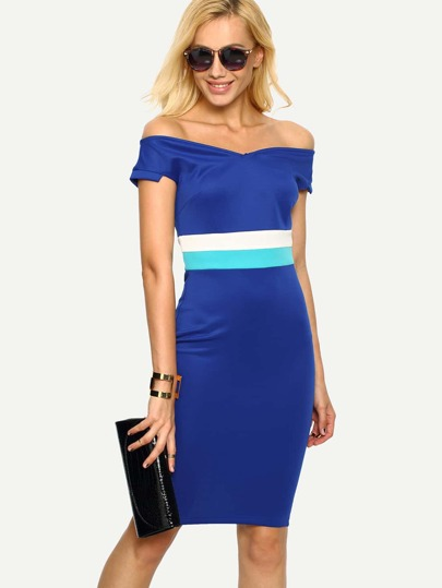 Navy Off The Shoulder V Neck Color-blocked Bodycon Dress