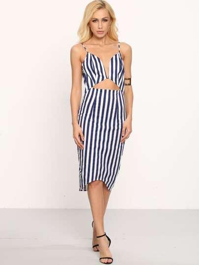 Vertical Stripe Deep V Neck Split Back Bodycon Dress