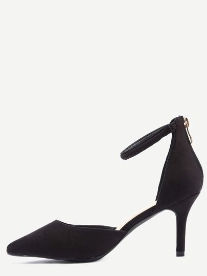 Black Ankle Strap Pointed Toe Heels
