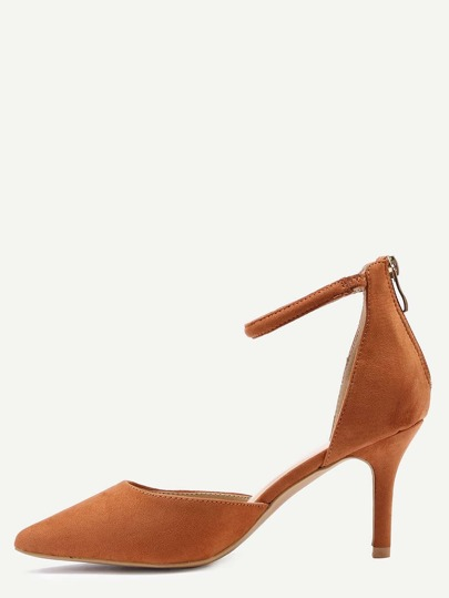 Tan Ankle Strap Pointed Toe Heels