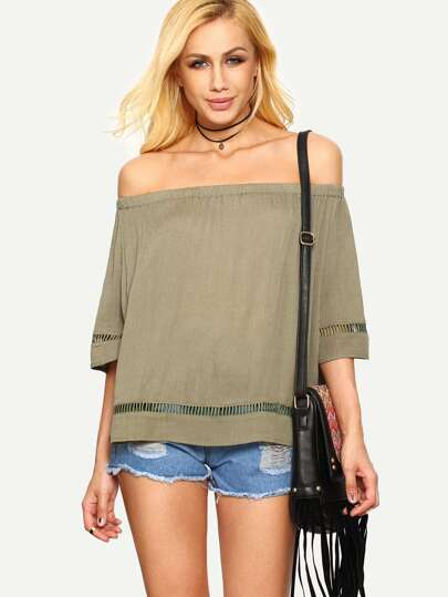 Light Army Green Off The Shoulder Blouse