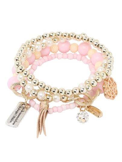 Handkette mehrreihig mit Perle verziert -rosa