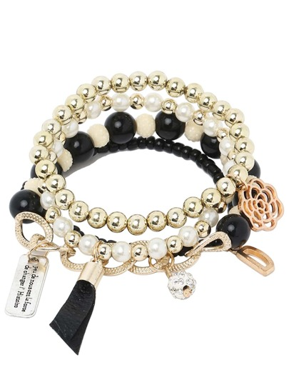 Black Pearl Beaded Multilayers Hand Chain