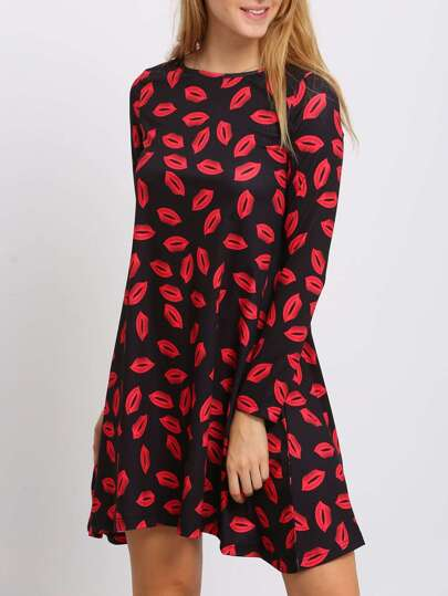 Black Crew Neck Lipstick Print Shift Dress