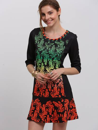 Multicolor Vintage Print Ruffle Dress