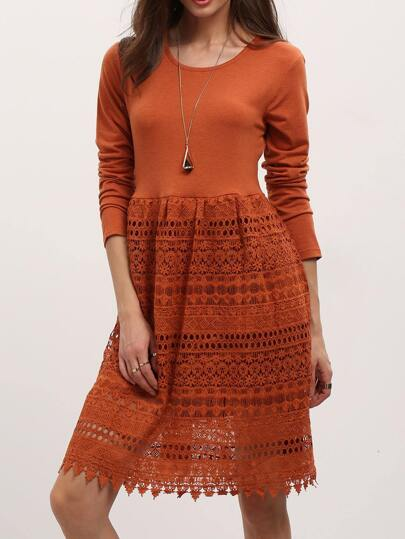Orange Crew Neck High Waist Lace Dress