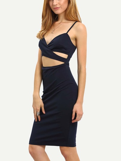 Navy Spaghetti Strap Cut Out Pencil Dress