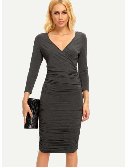 Black Deep V Neck Ruched Sheath Dress