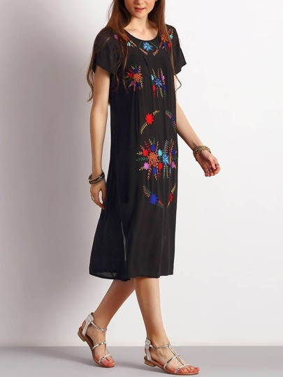 Black Tribal Embroidered Side Slit Dress