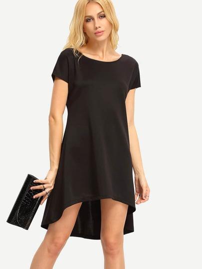 Black V Cut Back High Low Dress