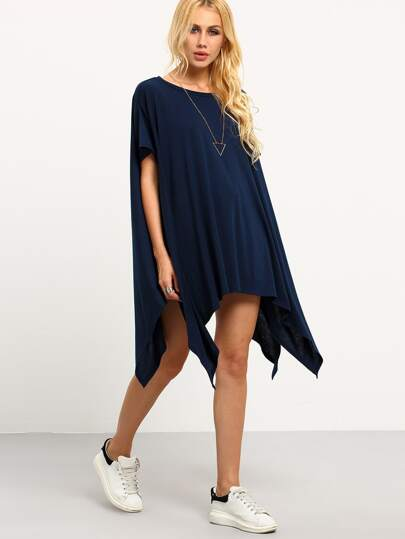 Navy Short Sleeve Asymmetrical Split Shift Dress