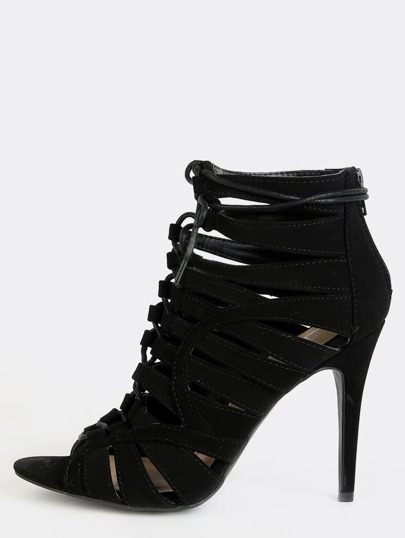 Open Toe Stiletto Ankle Boots BLACK