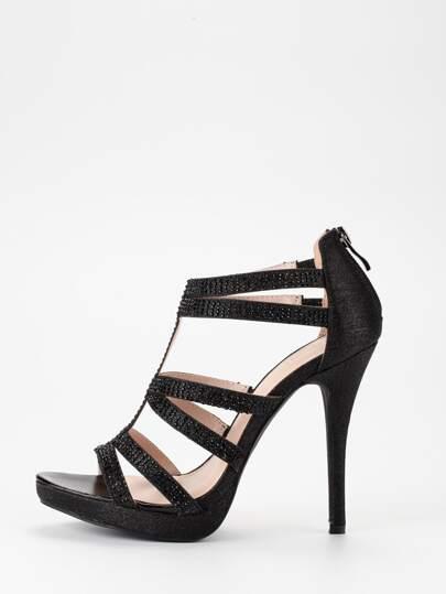 Black Glitter Caged Platform Sandals