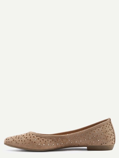 Laser-Cut Pointed Toe Flats - Camel