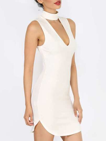 Beige Sleeveless High Neck Hollow Dress