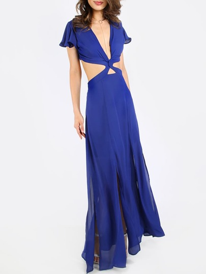 Royal Blue Twist Front CutOut Back Maxi Dress