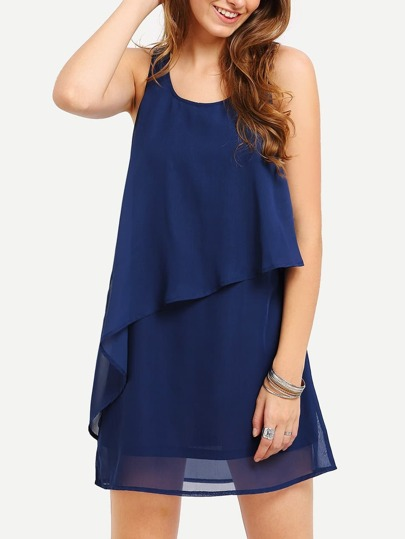 Navy Braces Sleeveless Inch Beauty Ruffle Dress