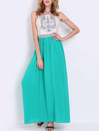 Green Puffball Broderie Sleeveless Tribal Embroidered Color Block Maxi Dress