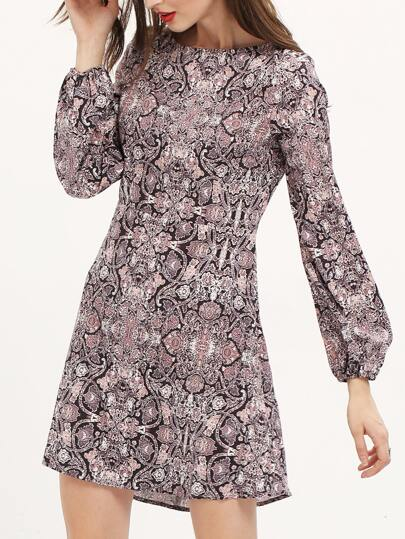 Multicolor Long Sleeve Vintage Print Dress
