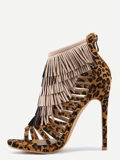 Sandalias cremallera flecos tacón alto - leopardo