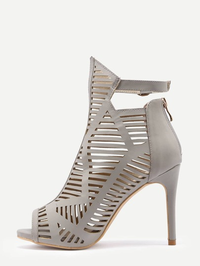 Grey Peep Toe Buckle Strap High Heels