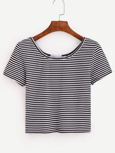 Black White Striped Crop T-shirt
