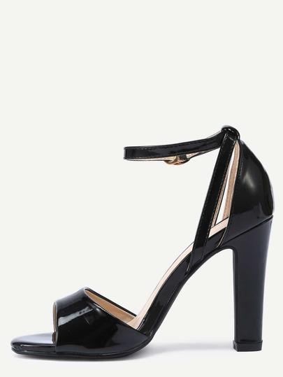 Sandales vernis à bride bout ouvert - noir