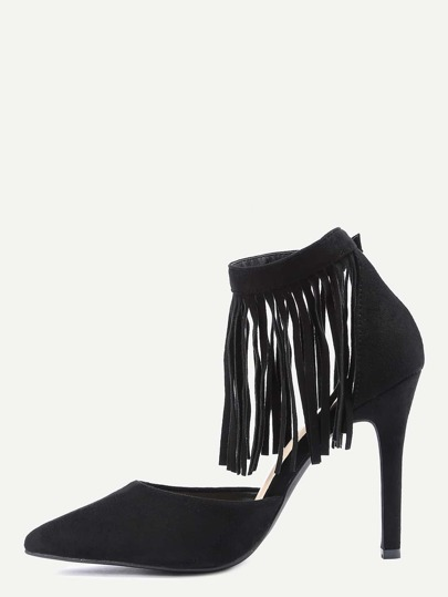 Black Fringe Ankle Cuff Pointed Toe Heels