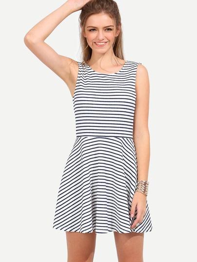Black White Striped Sleeveless U Back Dress