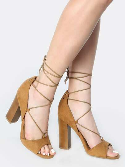 Lace Up Faux Suede Chunky Heels NATURAL