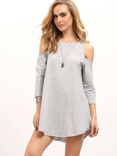Grey Cold Shoulder Long Sleeve T-shirt