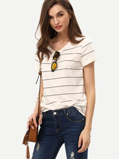 Beige Short Sleeve Striped T-shirt