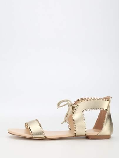 Sandalias cordón plano -dorado