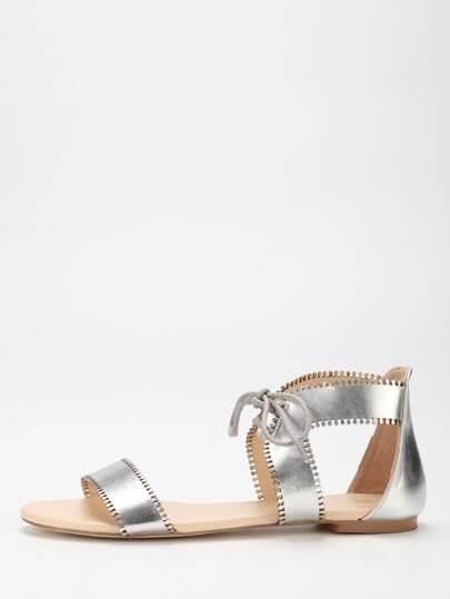 Sandalias cordón plano -plata