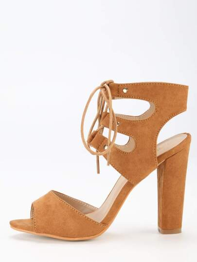 Tan Faux Suede Lace Up Block Heel Sandals